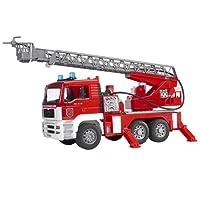 Bruder 02771 - Camion de pompier MAN rouge avec échelle, pompe a eau et module son et lumière