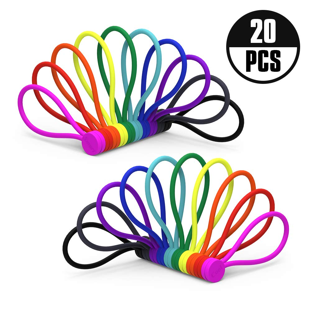 Smart&Cool Reusable Silicone Twist Ties with Strong Magnet for Bundling and Organizing, Can Be Used in Many Ways or Just for Fun (10 Colors-20Pack)