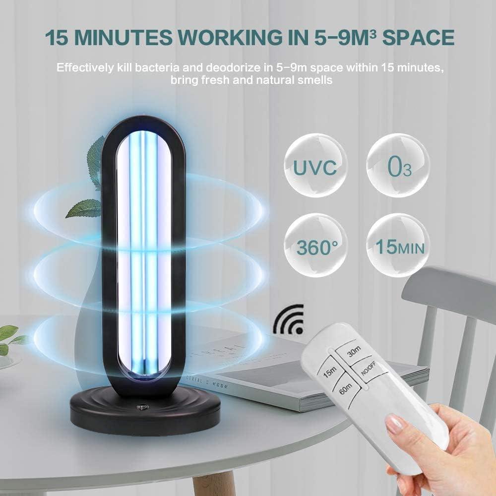 Lampada di sterilizzazione a ozono UV con telecomando Tasso antibatterico Uvc Lampada germicida a raggi ultravioletti 99/% Lampada disinfettante domestica portatile da 50 W