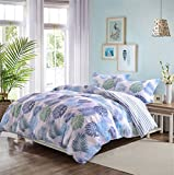 Luxury Quality Bamboo and Brushed Microfiber Floral Duvet Cover Set 3 Pieces Ultra Soft Hypoallergenic Breathable Comforter Case,Quilt Cover with Zipper Ties, Printed Tropical Hawaii Leaves Queen