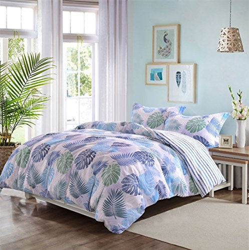 o and Brushed Microfiber Floral Duvet Cover Set 3 Pieces Ultra Soft Hypoallergenic Breathable Comforter Case,Quilt Cover with Zipper Ties, Printed Tropical Hawaii Leaves Queen ()
