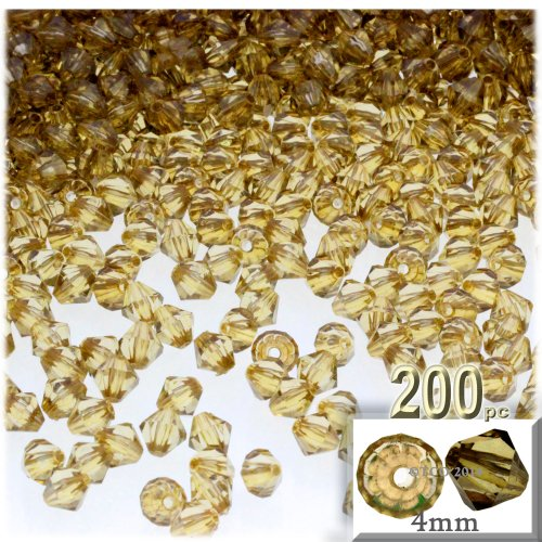 (The Crafts Outlet, 200-pc Acrylic Bicone Beads, Faceted, 4mm, Champagne )