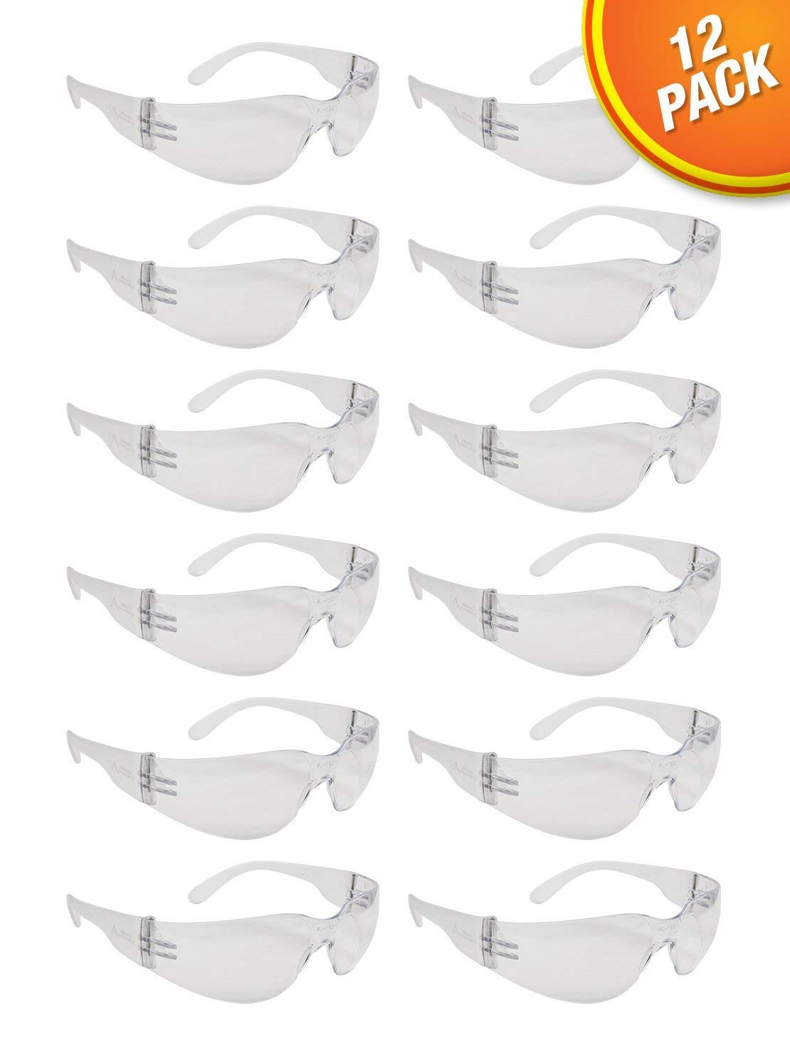 Clear Frame Safety Glasses, One Size, Anti-Scratch, Impact Resistance (12 Pack)