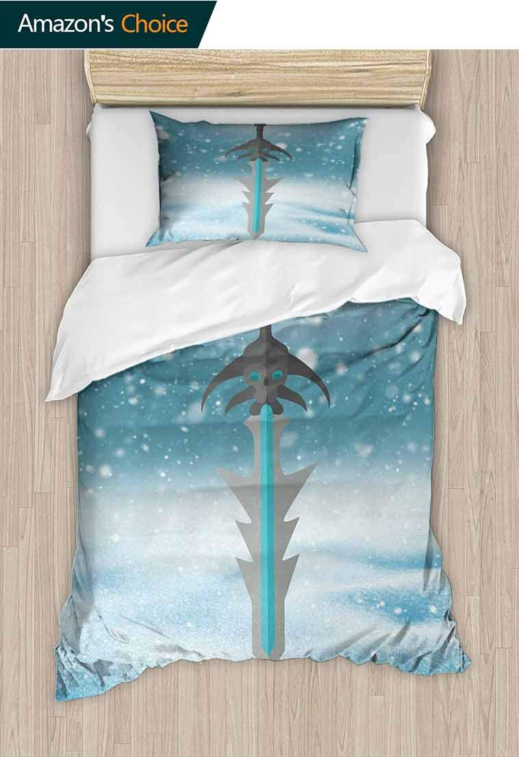 Video Game DIY Quilt Cover and Pillowcase Set, Sword with Skull Pattern Weapon Evil Being Fantasy Magical Snowy Sky, Reversible Coverlet, Bedspread, Gifts for Girls Women, 79 W x 90 L Inches