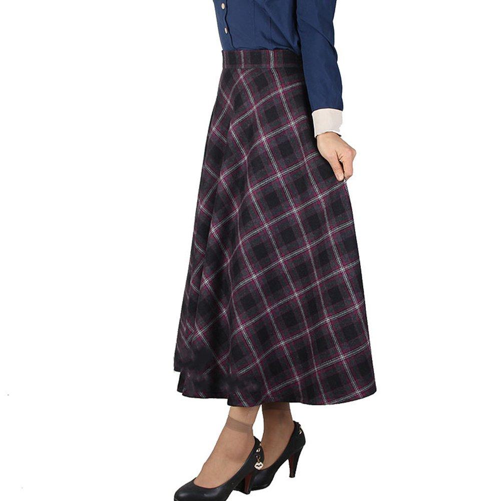 Scothen Damen Vintage hoher Taille Flared röcke knielange Kleider Retro  Hohe Taille A-Linie Rock Thicken Karierten Rock Faltenröcke Wollrock  Tellerrock ... 993522e7fd