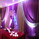 20x10ft Silk Fabric Swag Curtain,Christmas,Birthday Party,Event, Wedding Stage Decorations Backdrop (purple)