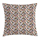 Dick Sidney Abstract Triangle Throw Pillow Cushion Cover, Geometric Polygon Motifs with Dots Plaid and Chevron Zigzags, Decorative Square Accent Pillow Case Dark Orange Black White