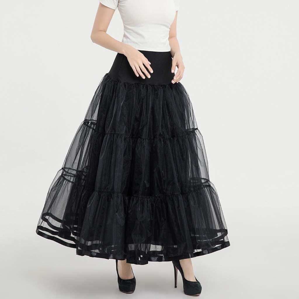 beautyjourney Falda de tut/ú para Mujer Camiseta Interior de Enagua Rockabilly Vintage Falda de Princesa de Fiesta de Gasa Plisada Falda de Baile de Malla
