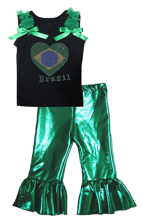 Petitebella Brazil Heart Black Shirt Bling Green Pant Set for Girl 1-8y