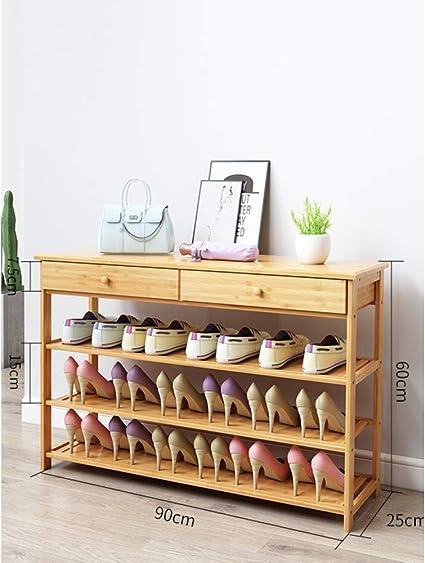 KELE Nivel 3-6 Natural Bamboo Estanteria de Zapatos, Estante ...