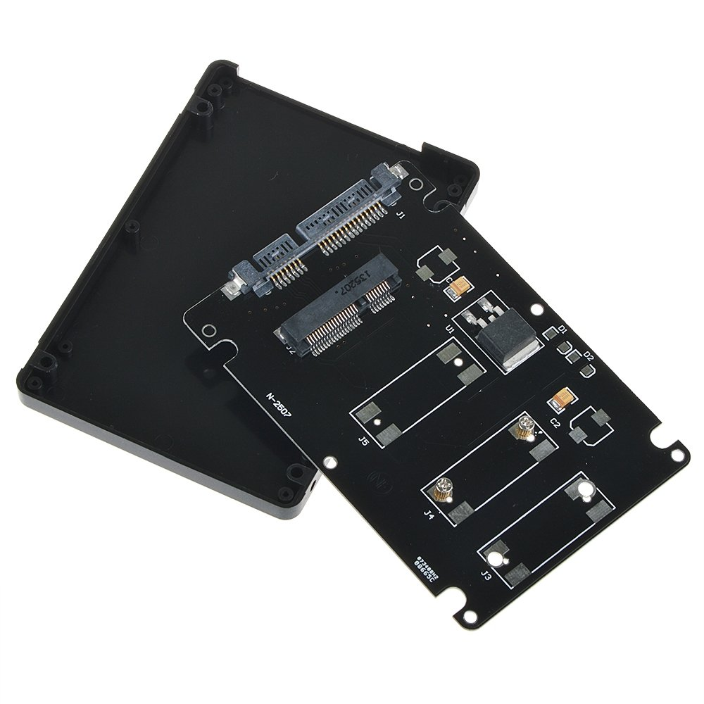 Black SLLEA Mini PCI-E mSATA SSD to 2.5 SATA 3 Adapter with 7 mm Thickness case