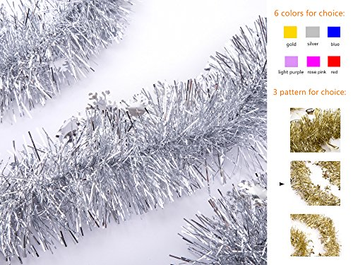 iPEGTOP Christmas Tinsel Garland, Thick Cut Shiny Wedding Holiday Party Ceiling Hanging Ornaments Tree Decorations Snowflake Pendant, 3 Pcs 8.2 Ft, Silver