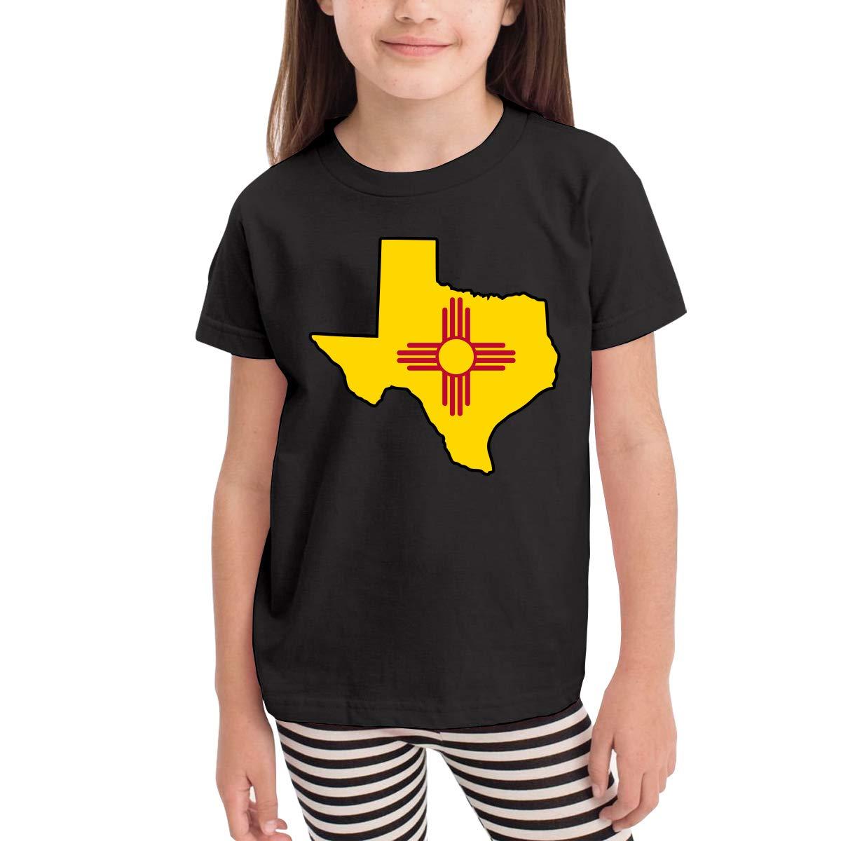 CERTONGCXTS Little Girls Texas New Mexico Flag Cotton Short Sleeve Tee Shirt Size 2-6