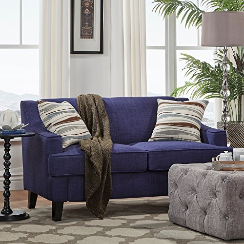 (Inspire Q Winslow Concave Arm Modern Loveseat by Bold Twilight Blue Linen)