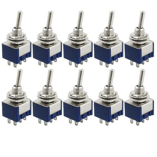 16 opinioni per SODIAL (R) 10 pezzi AC 125V 6A Amp ON / ON 2 Posizione DPDT interruttore a