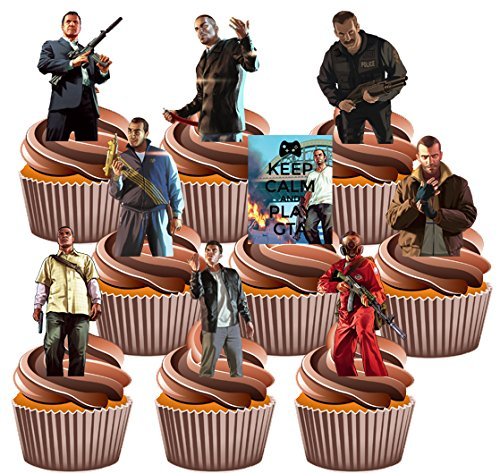 AKGifts Grand Theft Auto Party Pack, 36 Cup Cake Toppers, Edible Stand Up Decorations - Xbox Edible Images