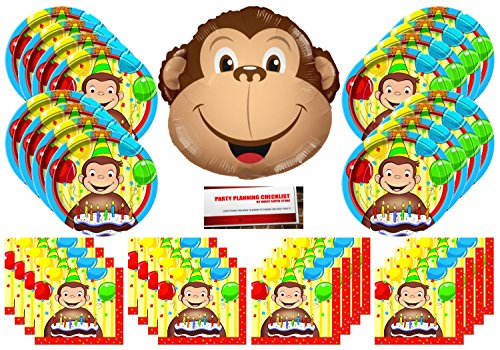 Curious George Happy Birthday Party Supplies Bundle Pack for 16 plus a 14 Inch Monkey Balloon (Plus Party Planning Checklist by Mikes Super Store)