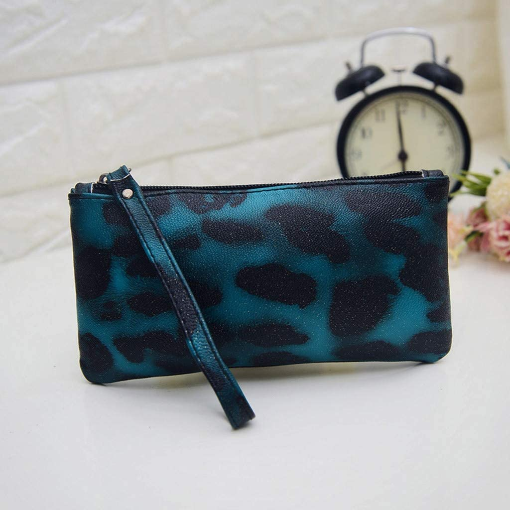 Women Leopard Clutch Bag Zip Closure Wristlet Bag Resistant Purse Envelope Handbag 7.09 for Night Out Cocktail Party Wedding