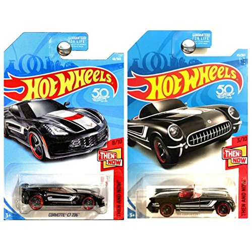 Hot Wheels 2018 Then And Now 1955 Chevrolet Chevy Corvette and C7 Z06 ZO6 Black SET OF 2