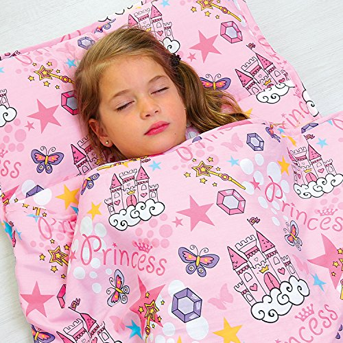 Kids Nap Mat with Removable Pillow - Soft, Lightweight Mats, Easy Clean Toddler Nap Pad for Preschool, Daycare, Kindergarten - Children Sleeping Bag (Pink with Princess Design) by Bambino Bliss by Bambino Bliss (Image #1)