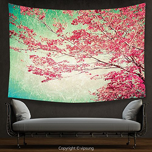 (vipsung House Decor Tapestry Vintage Fall Foliage Pink Florets on Ancient Tree Branches Aged Grungy Nature Display Pink Mint Green Wall Hanging for Bedroom Living Room Dorm)