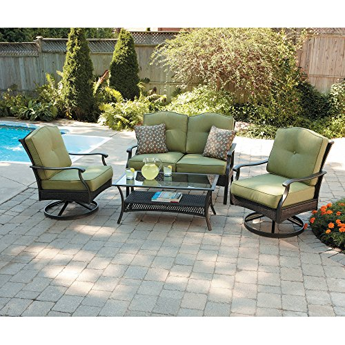 Home Garden Patio - Better Homes and Gardens Providence 4-Piece Patio Conversation Set, Green, Seats 4