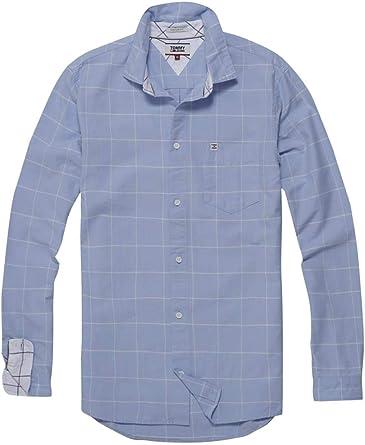 Tommy Jeans Camisa Cuadros Azul Hombre XXL Azul: Amazon.es ...