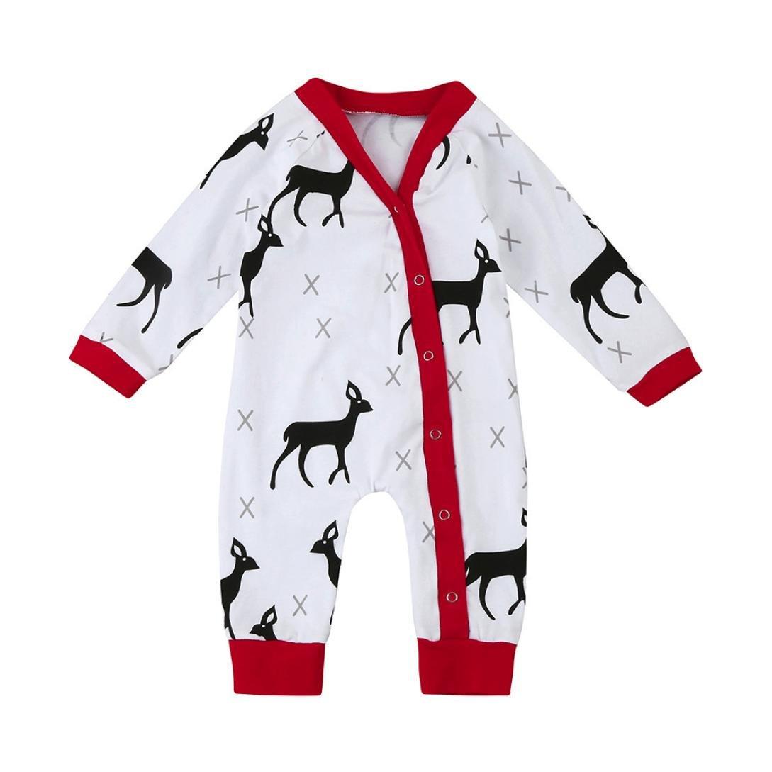 Noël Enfant Bodys Bébé Combinaisons et barboteuses Cerf Imprimé Pyjamas Manche longue Boutons Grenouillères Romper Jumpsuit Vêtements Bébé Originaux Habits Bébé Mode Bébé
