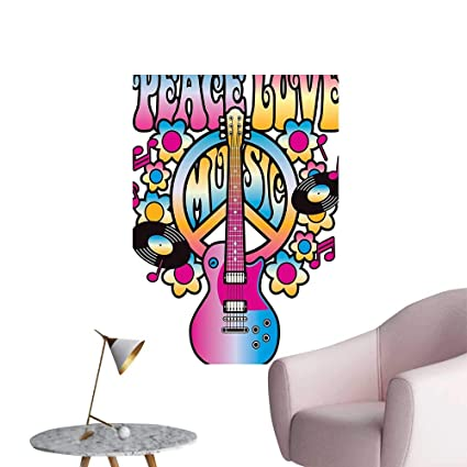 Wall Painting Love Music Text Peace Guitar Vinyl Records Flowers