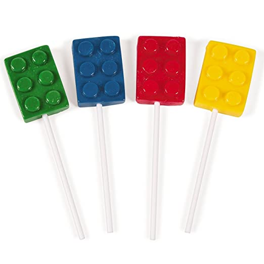 Brick Building Block Party Candy Lollipop Suckers Dozen