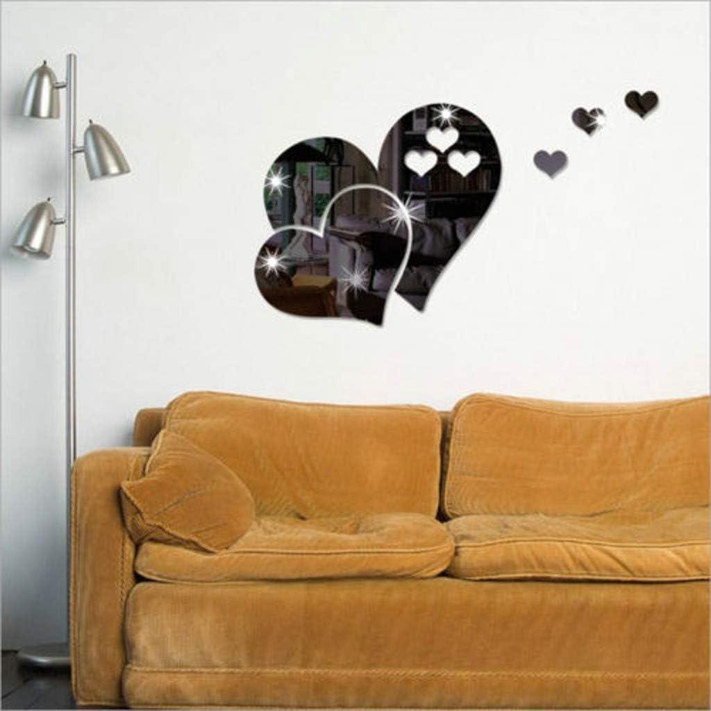 iYmitz ☯ Autocollant Mural Miroir 3D en Forme de Coeur Art Decal Amovible Salon Home Decor