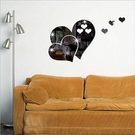 3D Miroir Stickers Murale Acrylique Autocollant Mural Stickers Muraux D/écoration DIY Salon Chambre Salle De Bain Cuisine Miroir Coeur Autocollant Peinture Miroir Art Sticker Mural Maison WINJIN