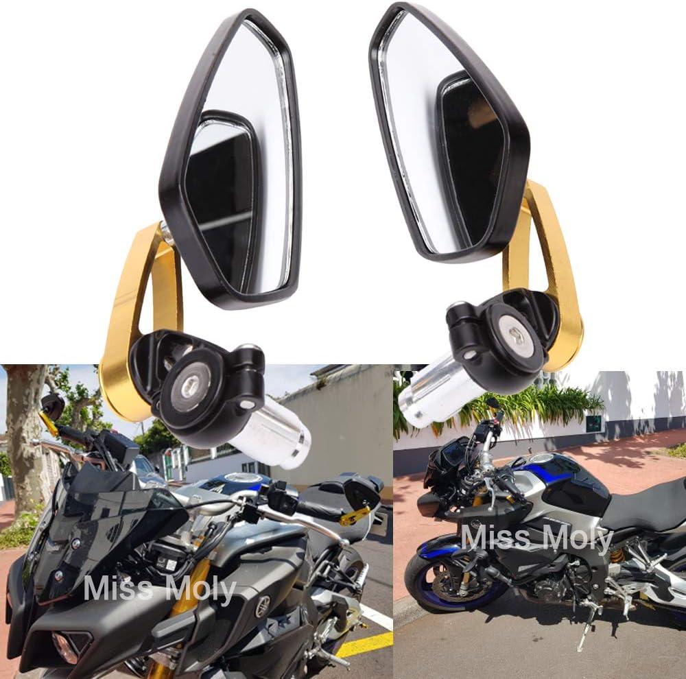 Motorrad Lenkerende Seitenspiegel 7 8 22mm Aluminiumlegierung Lenker Rückspiegel Für Scooter Cruiser Sport Bike Gold Auto