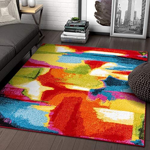 Blooms Multi Abstract Painting Red Orange Yellow Green Modern Brush Stroke Area Rug 5 x 7 5 3 x 7 3 Easy Clean Stain Fade Resistant Shed Free Bright Contemporary Geometric Art Thick Soft Plush