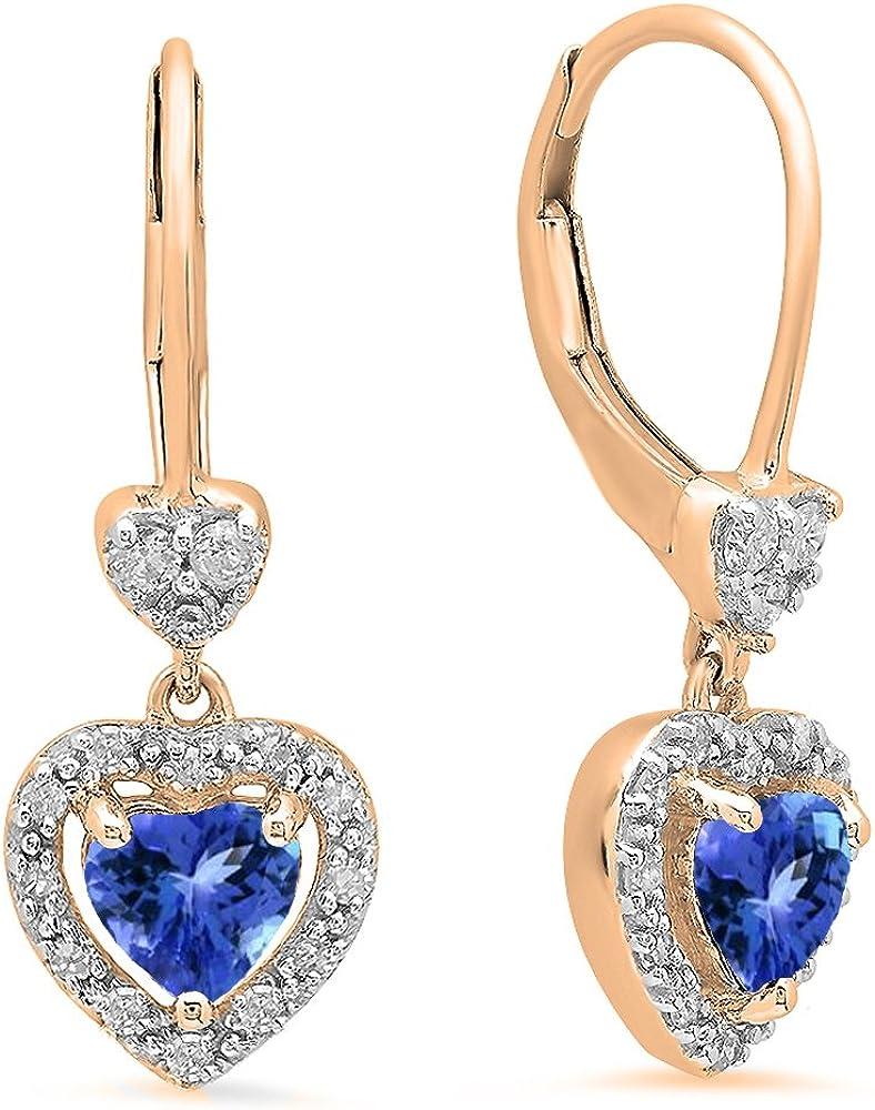 Dazzlingrock Collection Pendientes colgantes de 10 quilates, diseño de corazón, oro rosa