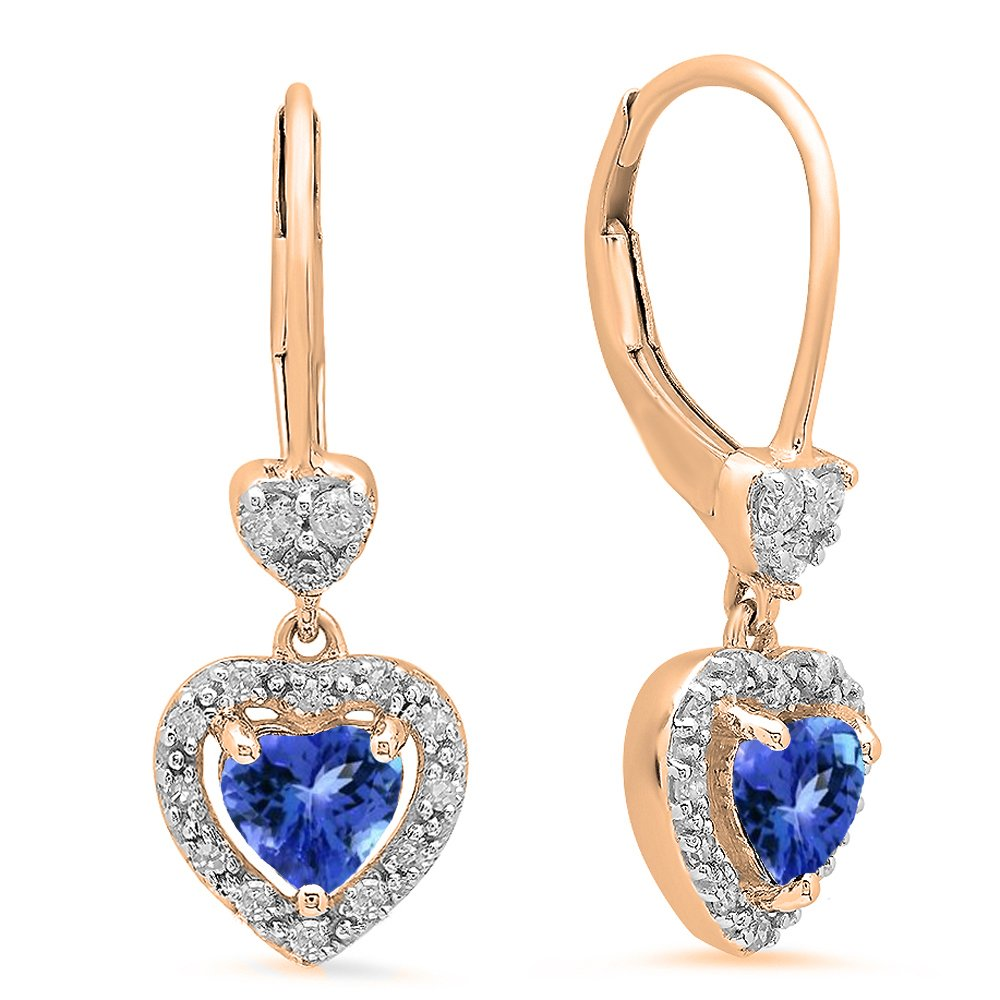 10K Rose Gold Heart Cut Tanzanite & Round White Diamond Ladies Heart Dangling Drop Earrings