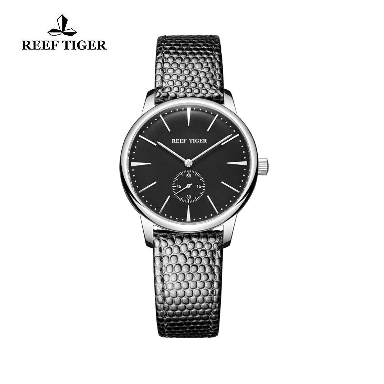 Reef Tiger Paar Uhren Ultra Thin Stahl schwarz Zifferblatt Lederband Damen Armbanduhr rga820