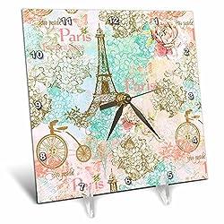 3dRose Uta Naumann Watercolor Pattern - Paris Eiffel Tower Vintage Pastel Pattern - 6x6 Desk Clock (dc_263199_1)