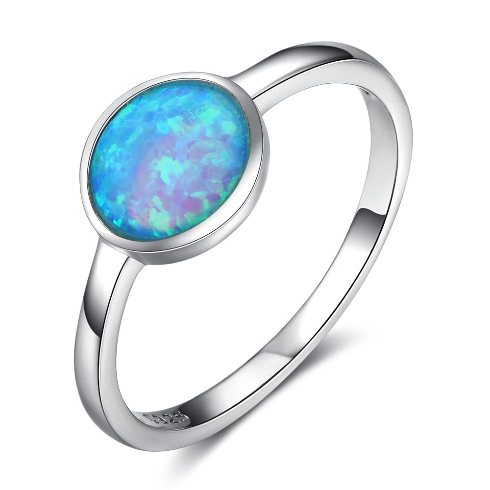 ACEFEEL Lab Created Opal Gemstone Round Solitaire Ring 925 Sterling Silver