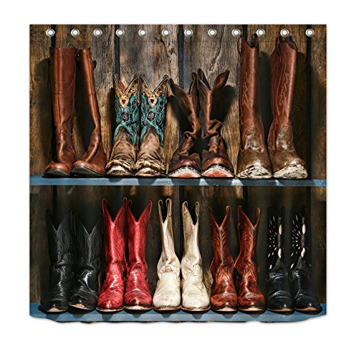 LB Cowboy Boots Rustic Wood Plank Decor Shower Curtain for Shower Stall, Western Country Rodeo Themed Curtain, Mold Free Water Repellant Non Toxic Decorative Curtain, 70 x 70
