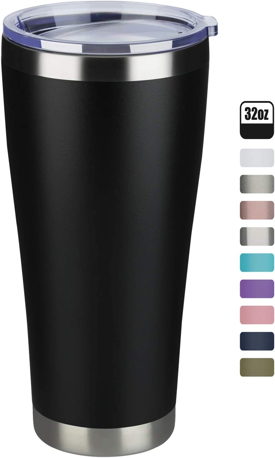 MEWAY 32oz Coffee Tumblers Vacuum Insulated Cups,Double Wall Stainless Steel Tumbler with Lid,Durable Powder Coated Thermos Coffee Mugs for Ice and Hot Drink (Black,1)