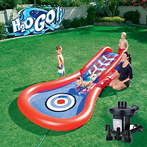H2OGO! Splash and Play Cannon Ball Inflatable Kiddie Slide Swimming Pool with Electric Pump - Seahawk 200 Inflatable Boat