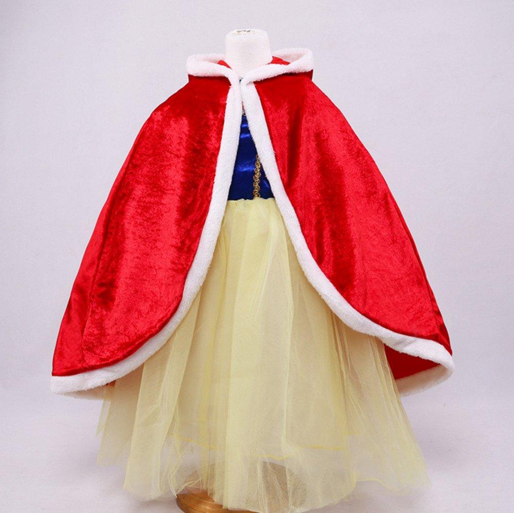 Proumhang Capo Principessa Bambina Mantello Principessa con Cappuccio Regina Costume Halloween Carnevale Natale Rosso
