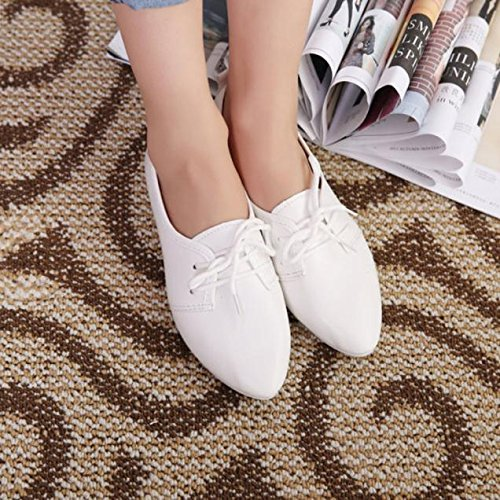 Slip Bow School Größe 3 Low Brogue Loafers Work Flat WINWINTOM Vintage Weiß 8 Schuhe Womens Damen On EwXAqRC