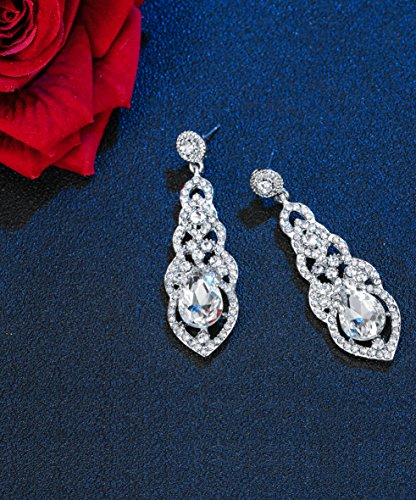 Hanpabum Bridal Wedding Jewelry Set Women Bracelets Dangle Teardrop Earrings Set Women Jewelry Made Clear Crystals (Earings Bracelets) by Hanpabum (Image #4)