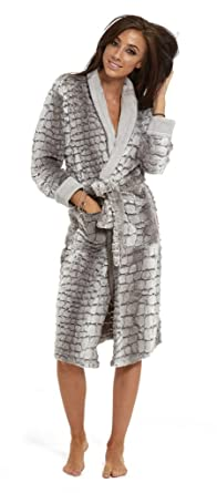 Ladies Grey Fleece Snuggle Pyjamas Matching Dressing Gown Animal