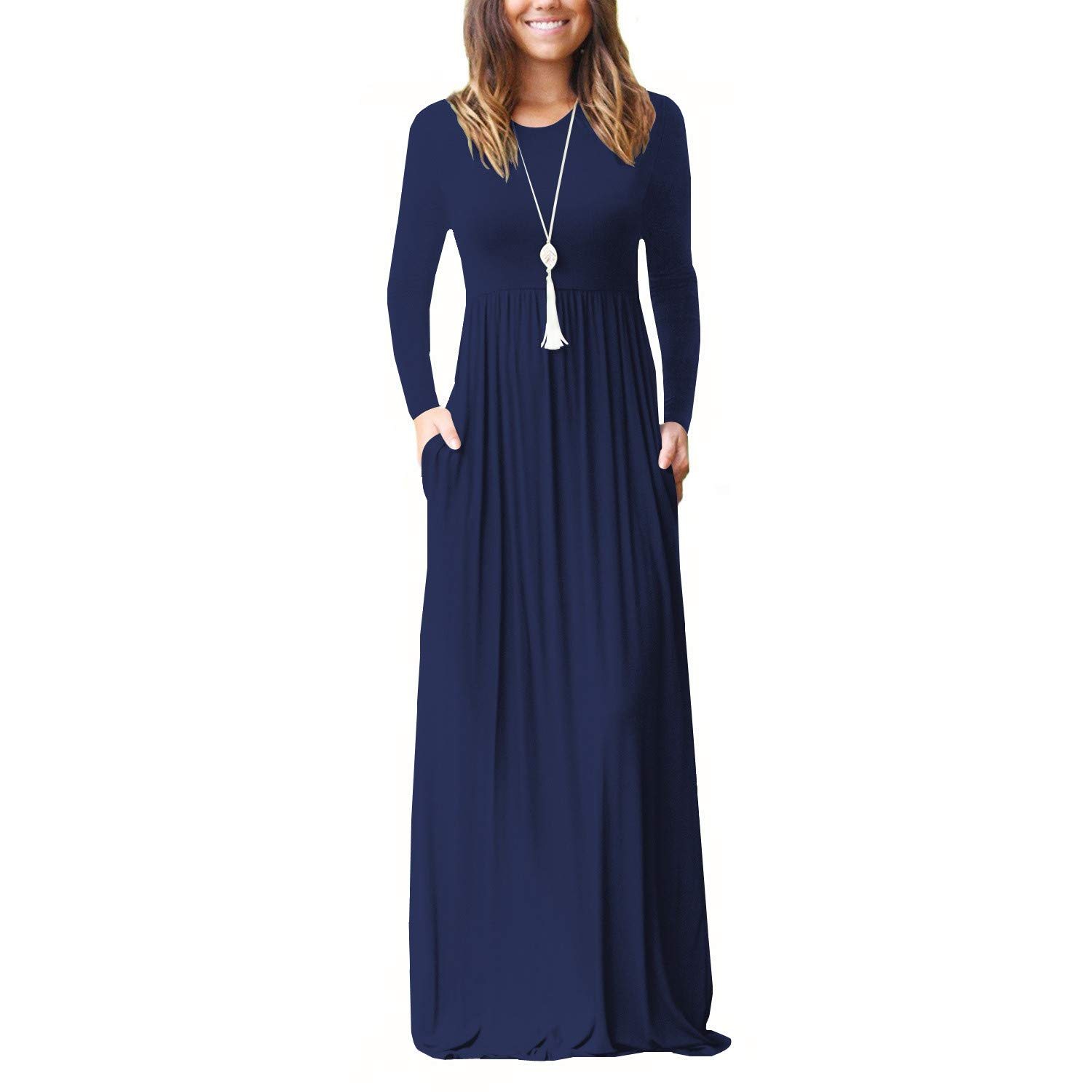 Navy bluee AWUWE Women Long Sleeve Loose Plain Maxi Dress Casual Long Dresses with Pockets