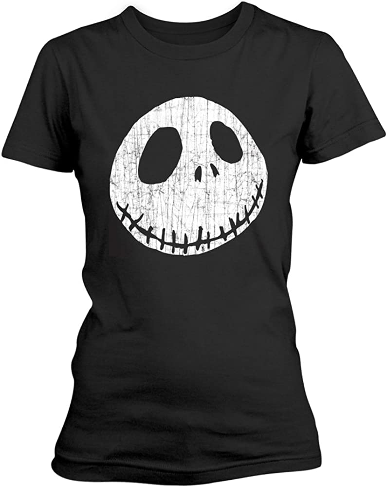 Nero T Shirt Elasticizzata Unisex Cracked Face Nightmare Before Christmas