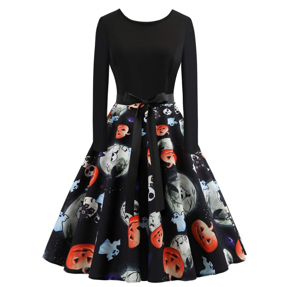 Paskyee Women Christmas/Halloween Print Vintage Xmas Swing Cocktail Party Dress