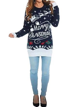 New Ladies Merry Christmas Novelty Midi Tunic jumper Sweater Dress UK 8-14